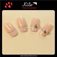 Professional acrylic nail tips natural fake nails with glitter / stone decor