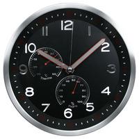 30cm metal high-end wall clock w/ full numbers & weather station/ EL reloj multifuncional