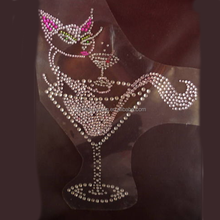 cat in glass cup korean hotfix rhinestones motif design for garment