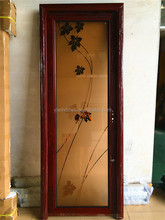 Aluminum door Tempered Glazed wooden color