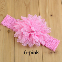 Shabby vintage handmade pearl tulle lace knitted decorative flower baby headband wholesale