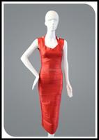 2014New Design Hot Red Foiled Back-slit bodycon kaftan india