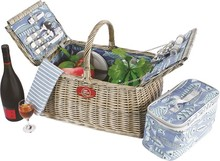 Fashional style willow picnic storage basket wih handle and fabric lining