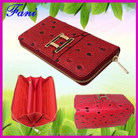 Ostrich leather wallets for women with luxury metal design of Guangzhou Fani Factory