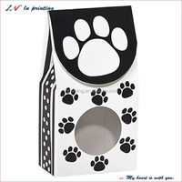 paw print gourmet window boxes show off your product with clear acetate window and velcro closure