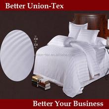 Cheap comforter sets prices for 300T white cotton sateen stripe duvet cover/bed sheet/pillow case/duvet/pillow