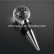 unique golf ball shape crystal wine stopper, bottle stopper MH-QT095
