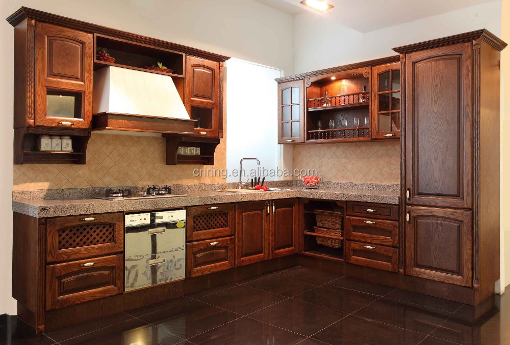 2015 Modern Oak Wood Solid Wood Kitchen Cabinets Design Furniture