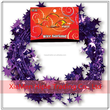 New Shiny Purple Shooting Stars Garland party Decoration Of wire strand