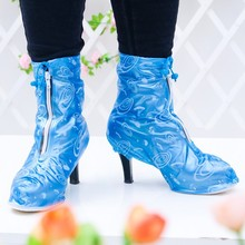Ms. High-heeled Shoe Covers Super Motorcycle Waterproof Rain Boot Pink/Blue