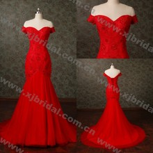 WNA16006 Actual Images Real Samples Off The Shoulder Short Sleeve Hot Red Bridal Gowns Evening Prom Party Lace Wedding Dresses
