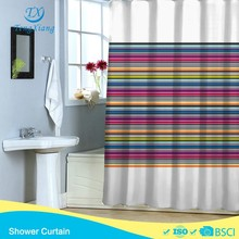 Colorful striola polyester pritedb hookless shower curtain