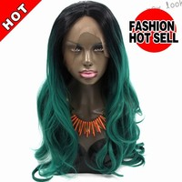 milkyway alibaba express cheap long black mixed green wavy heat resistant synthetic lace front wig for black women