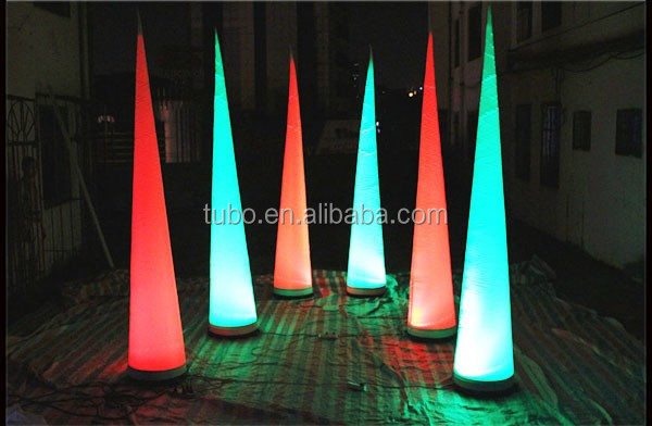 Free-shipment-3m-height-color-changing-LED-inflatable-pillar-horn-cone-ball (2)