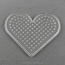ABC Pegboard Rack for DIY Fuse Beads, Heart, Clear, 75x89x5mm(DIY-R014-04)