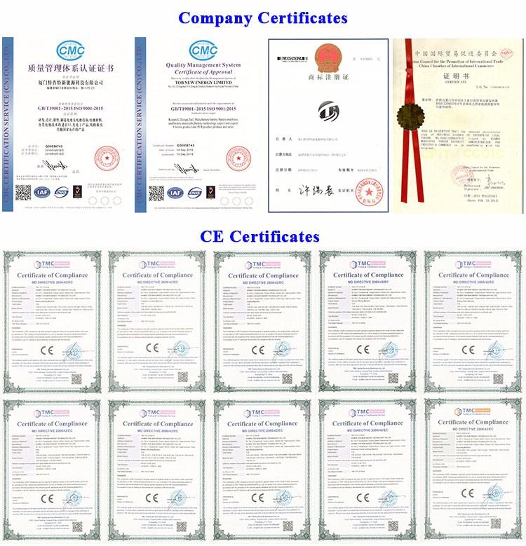 TOB NEW ENERGY certifications
