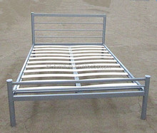 Double simple style double metal bed with wood post in bedroom furniture