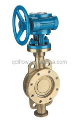 Wafer type bronze butterfly valve gear operated with gear box