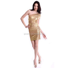 Glorious one shoulder gold beaded fantasy China Made Prom Dresses