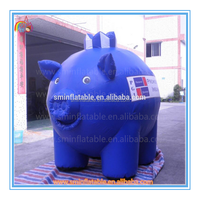 Factory price giant inflatable pig model,inflatable blue pig cartoon toy for advertising to sale