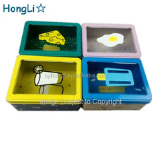 Korea Style Fashion Children Metal Tin Stationery Case / Tin Pencil Box / Metal Tin Storage Box with PVC window Lids