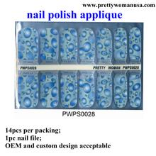Fonte da beleza água azul projeto nails adesivos para decoração de unhas embalagem independente
