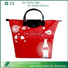 China manufacture polyester folding printing handheld shopping bag
