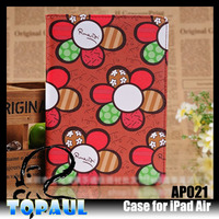 2014 high quality retro style flower print jean leather case for ipad air 2