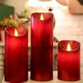 Hechos a mano tallada velas sin llama pilar vela colección ( paquete de 3)