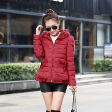 New women's autumn winter wild cotton hooded Slim Down female short section of stitching