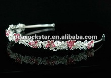 Bridal Wedding Butterfly Pink Crystal Headband Tiara CT1307