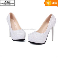 2016 New Platform Beautiful Glitter White Wedding Shoes Women Pumps Party Dance Sexy High-Heeled Shoes 10/12/14 cm size 34-39