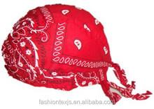 Cheap Fashion cotton printed cowboy custom pirate Elastic red bandana hats