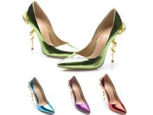 2015 Bulk Custom Made Dark Green Patent Leather Sexy Metal Snake Heels Women Pumps Wedges Fashion Ladies Heeled Shoes