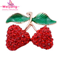 N283 sweet cherry crystal jewelry brooches for women