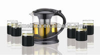 JMHH86D3-7 7Pcs Nice and Exclusive Glass Tea Set Tea Pot Set Coffee Set With 6 Cups Dressing With Heat Resistant Silicone