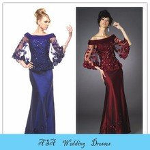 MO98 Elegant gelinlik Long elbise Royal blue red two piece mother of the bride dress with lace jacket