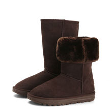 Mountain high 5815 fashion warm plush lining cow suede snow boots in chocalate
