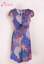 New arrival elegant casual dress for women 2015 summer apparel slim ladies print charming knit dress fashion guangzhou factory