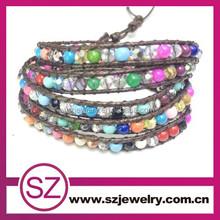 2015 popular five layer braided leather bracelet , custom braided leather bracelets for women