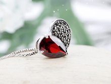 Cheap Sales Graceful Allergy Free 925 Silver Zircon Studded Garnet Broken Heart Love Necklaces for Women