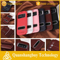 Top quality view window PU leather flip case for Samsung Galaxy Grand Duos i9082 i9080 i9060