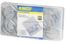 21 pcs hose clamp set Galvanized hose clip set Kinzo quality with plactic box hose hoop