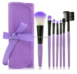 Purple Professional 7 pcs Makeup Brush Set tools Make-up Toiletry Kit Wool Brand Cosmetic Brush Set Case