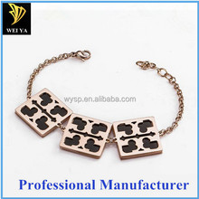 Fashion Jewelry Four square Metal Board Rose Gold Plated Chain Bracelet