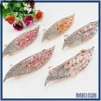 Custom design metal clips cheap fancy unique gypsy Enamel leaf charming hair jewelry magnetic crystal hair clip for hair
