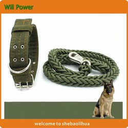 Pet Dog Heavy Duty Nylon Collar & Leash, Military Green Pet Rope Leash