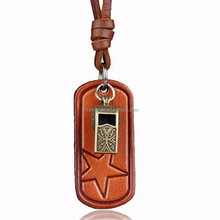 Leather String Whistle Sweater Necklace Long Chain Necklace Chain (Bronze)