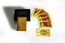 Gold foil Playing Cards Gold Plated Christmas tree Designed Cool Deck Plastic Card Games On Sale in Wooden box for gift