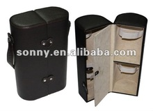 Fancy leather 1bottle and 2glasses travel wine case